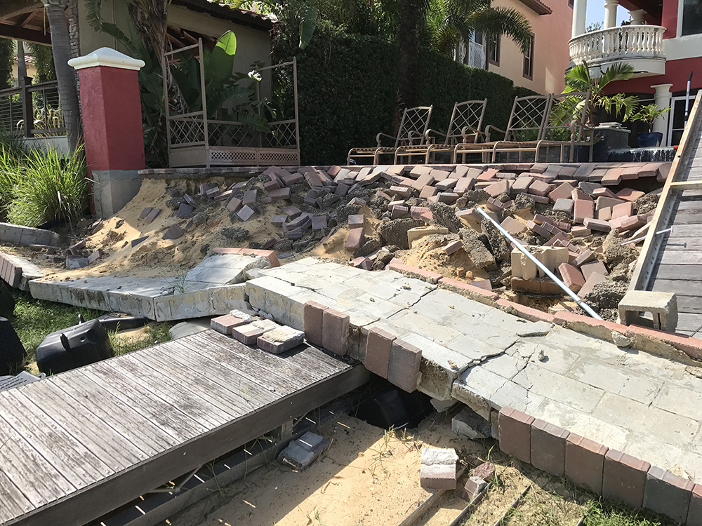 retaining wall damage