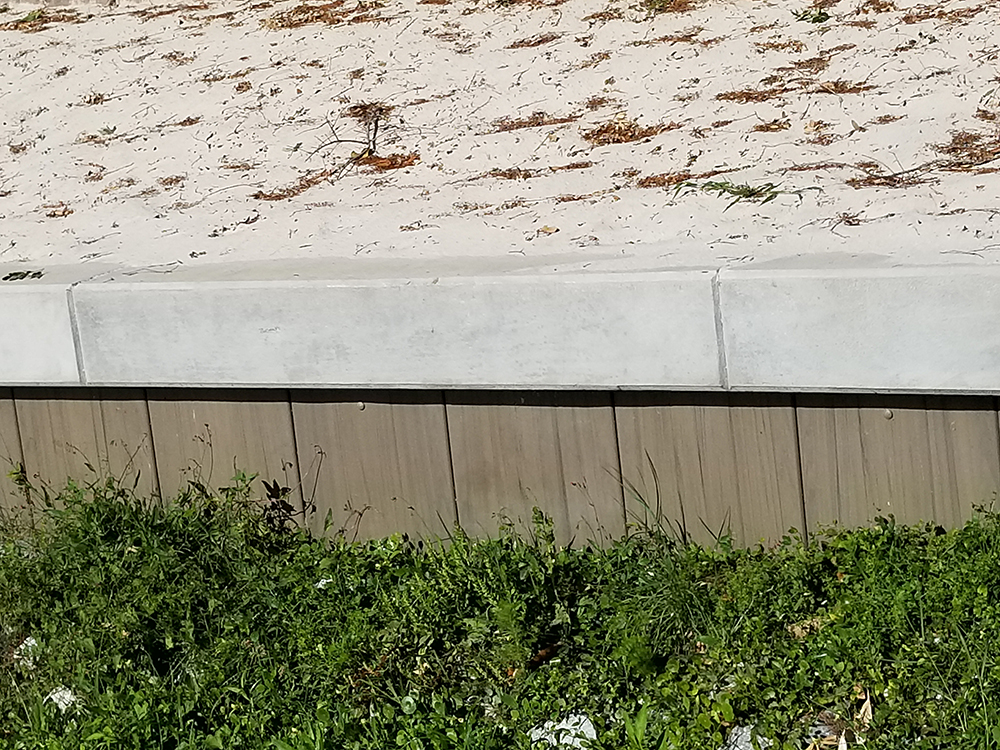 vinyl seawall with concrete cap