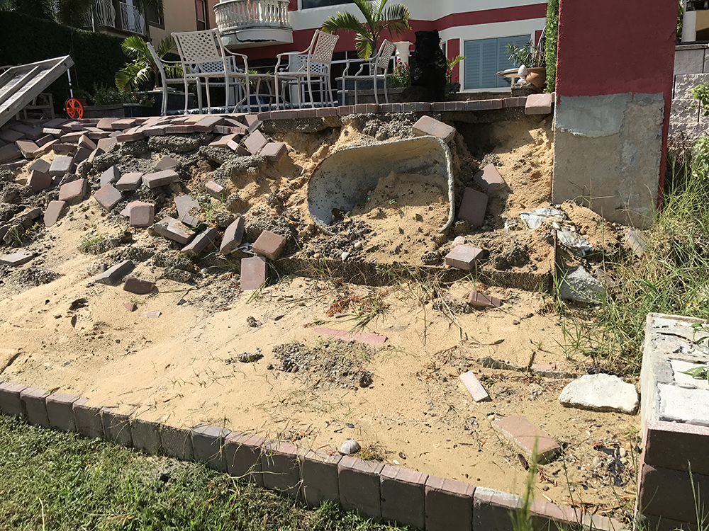 damaged retaining wall