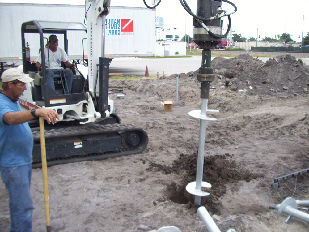helical pile installation