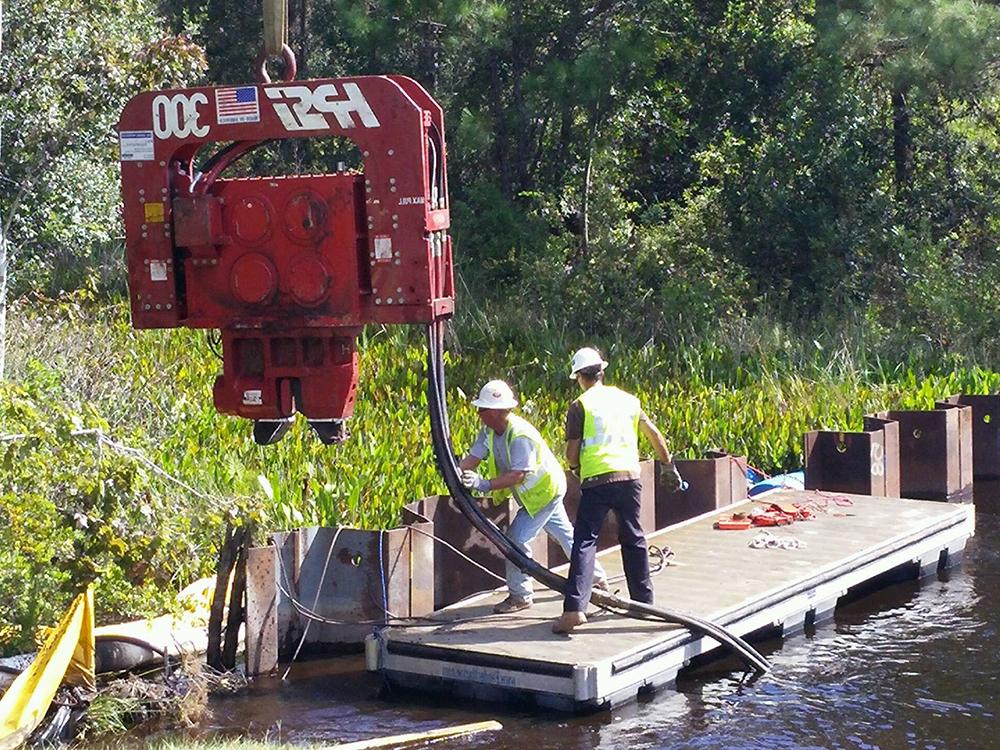 steel sheet pile driving contractors fender marine construction